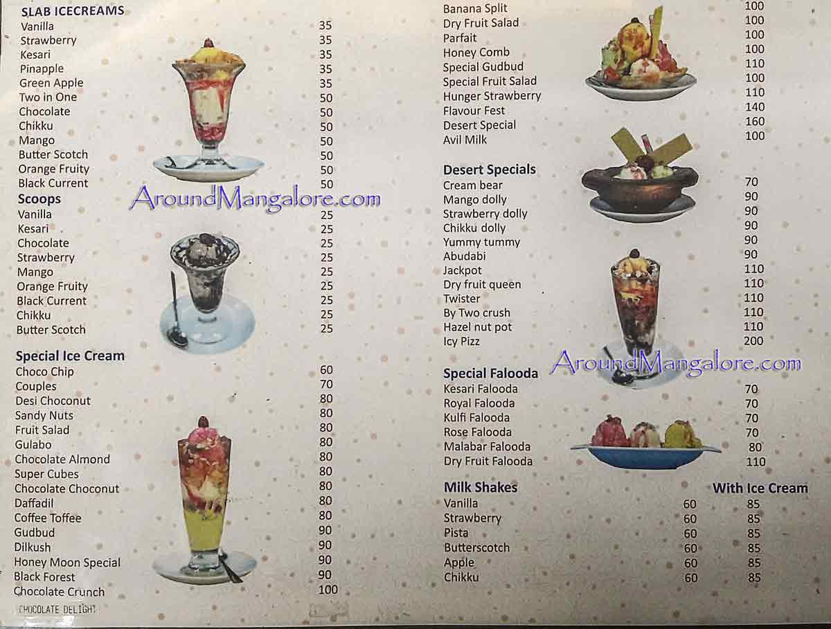 Food Menu Desert Cream Parlour Kodialbail Mangalore P2 - Desert Cream Parlour - Kodialbail