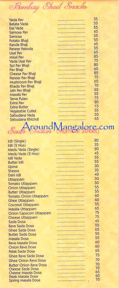Food Menu Mumbai Street Kitchen Mangalore P2 - Mumbai Street Kitchen - Hampankatta