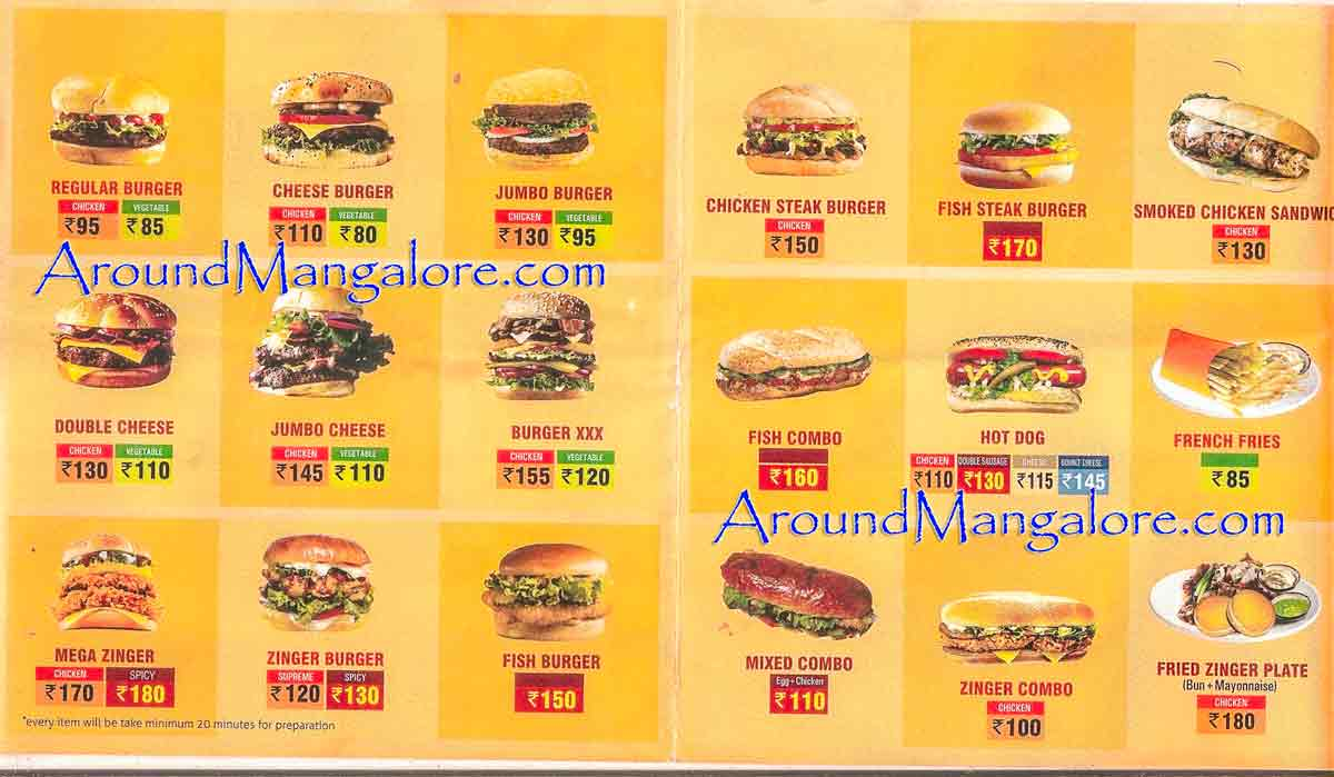 Food Menu Burger Lounge Mangalore P1 - Burger Lounge - Kodialbail