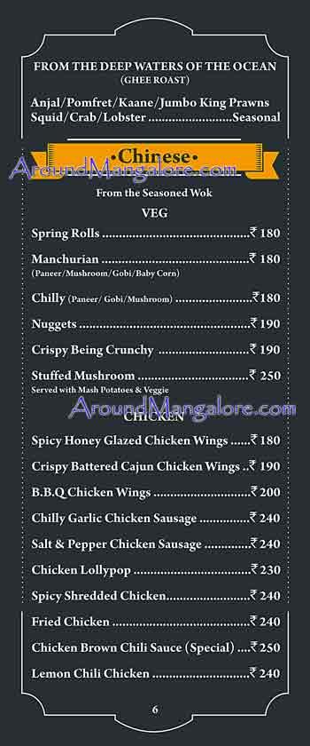Food Menu - The Old Bison - The Retro Bar - Attavar, Mangalore