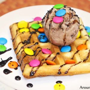 Gems Waffle with Chocolate Ice Cream Frozen Bowl Moodabidri 300x300 - Frozen Bowl - Roll Ice Cream - Moodabidri