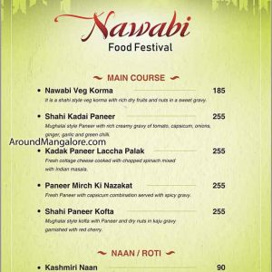 Veg Food Menu - Nawabi Food Festival 2019 - The Verda Saffron, Mangalore