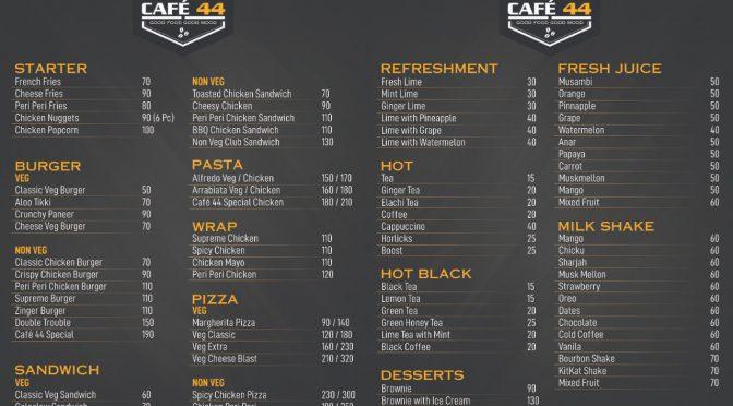 Food Menu - Cafe 44 - Valencia, Mangalore