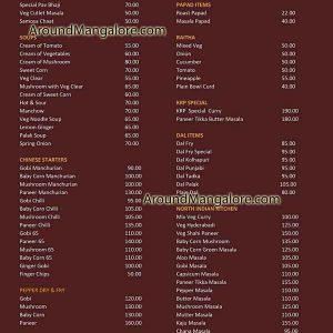 Food Menu - Hotel Kudla Rasa Prakash - Pure Veg Restaurant - Bejai, Mangalore