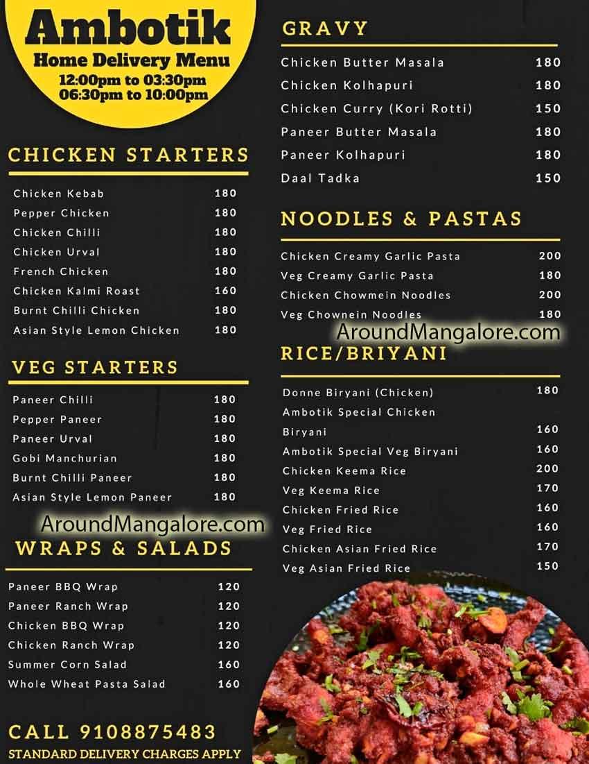 Food Menu Ambotik Sea Food Restaurant Mannagudda Mangalore - Ambotik - Sea Food Restaurant - Mannagudda