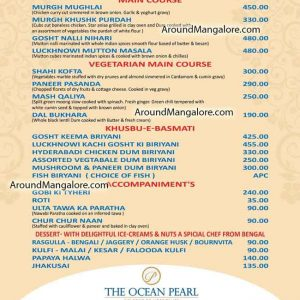 Food Menu - Biryani & Kebab Festival - 8 to 25 Feb 2020 - Coral - The Ocean Pearl, Udupi