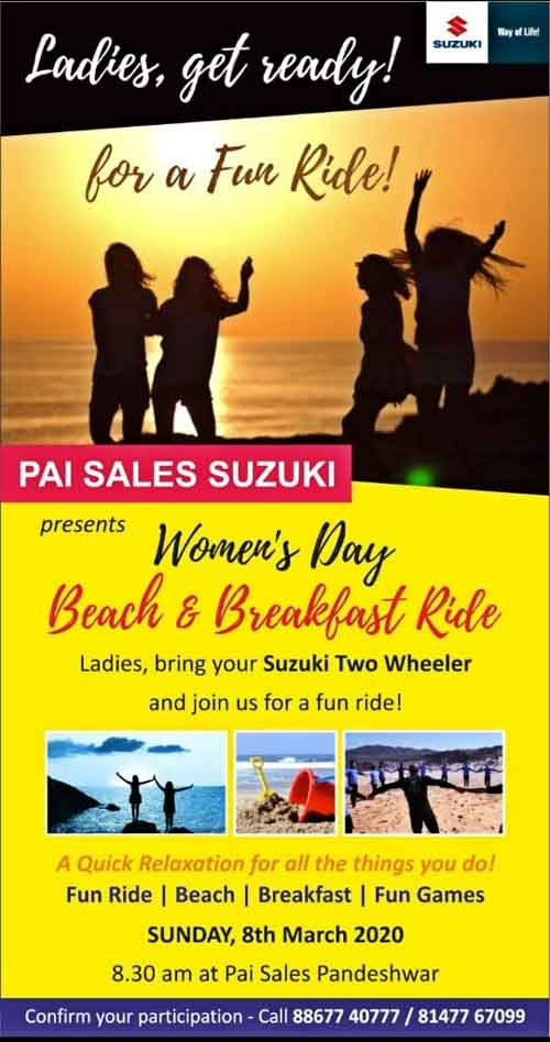 Women's Day - Beach & Breakfast Ride - 8 Mar 2020 - Pai Sales Suzuki, Mangalore