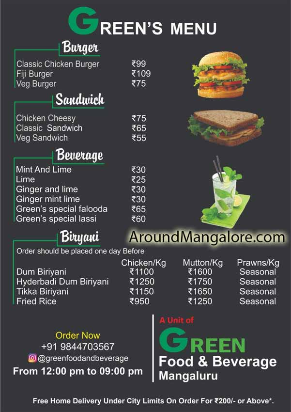 Food Menu - Green Food & Beverage - Cloud Kitchen in Mangalore