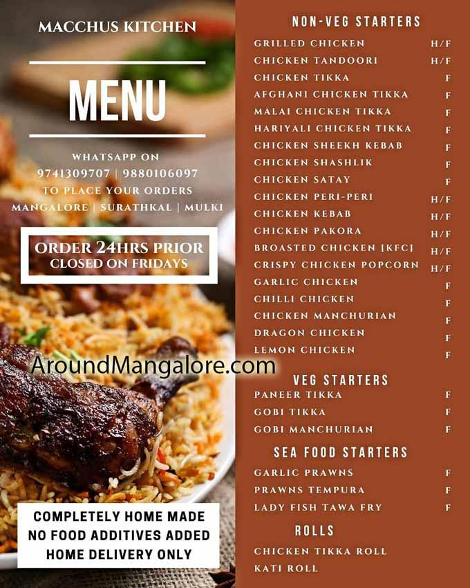 Food Menu Macchus Kitchen Cloud Kitchen in Mangalore - Macchus Kitchen