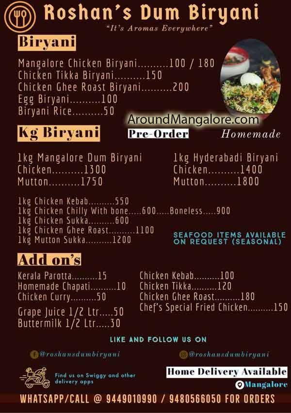 Food Menu Roshans Dum Biryani Cloud Kitchen in Mangalore - Roshan's Dum Biryani - Cloud Kitchen in Mangalore