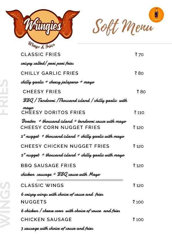 Food Menu Wringies Wings Fries Balmatta Mangalore - Liquid The Cafe & Wringies - Wings & Fries - Balmatta