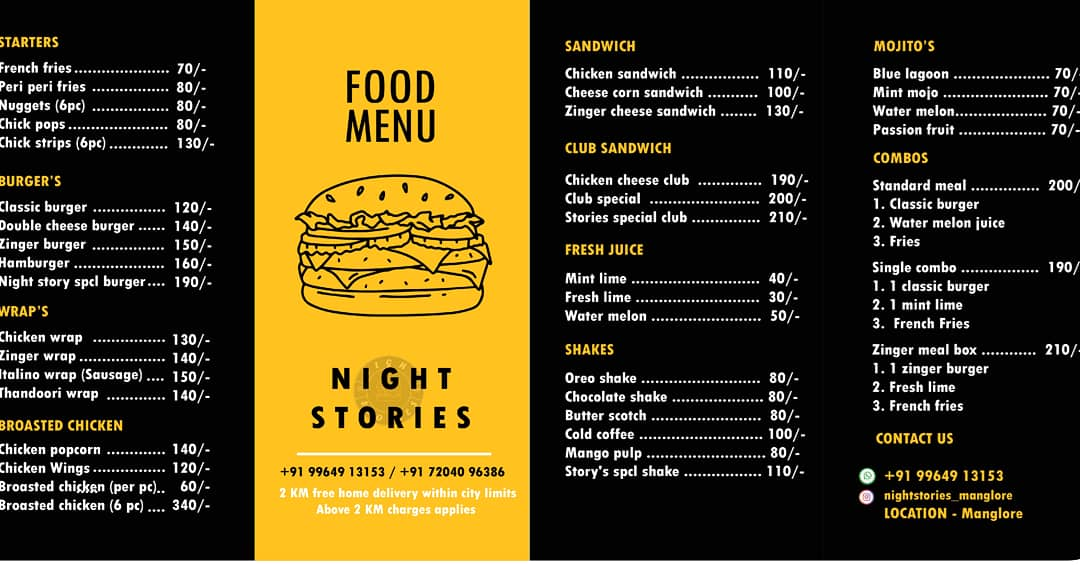 Food Menu - Night Stories - Cloud Kitchen - Mangalore