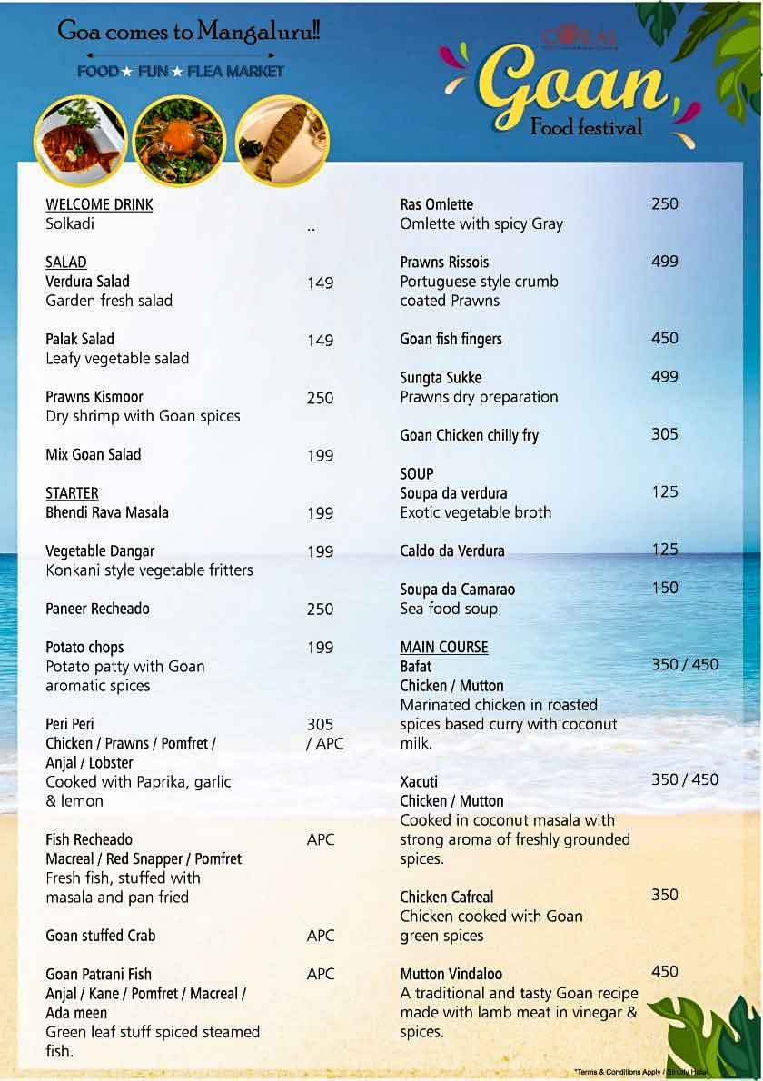 Food Menu - Goan Food Festival - 18 Sep to 4 Oct 2020 - The Ocean Pearl, Mangalore