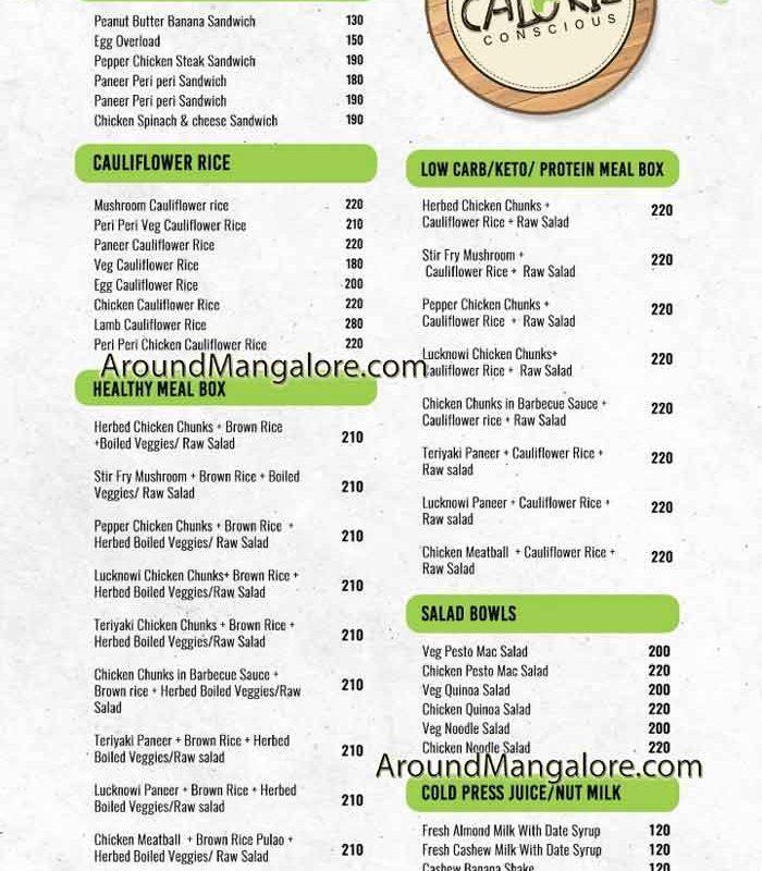 Food Menu - Calorie Conscious - Cloud Kitchen in Mangalore