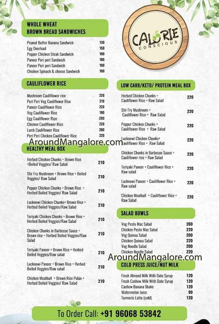 Food Menu Calorie Conscious Cloud Kitchen in Mangalore - Calorie Conscious - Cloud Kitchen in Mangalore
