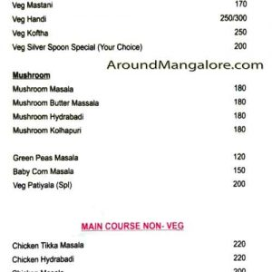 Food Menu - Silver Spoon Family Restaurant - Shivbagh, Kadri, Mangalore