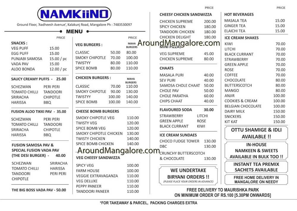 Food Menu - Namkiino - Cafe and Chaat Shop - PVS Kalakunj Road, Mangalore